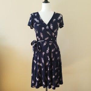 Bootlegger- Navy Blue butterfly wrap dress
